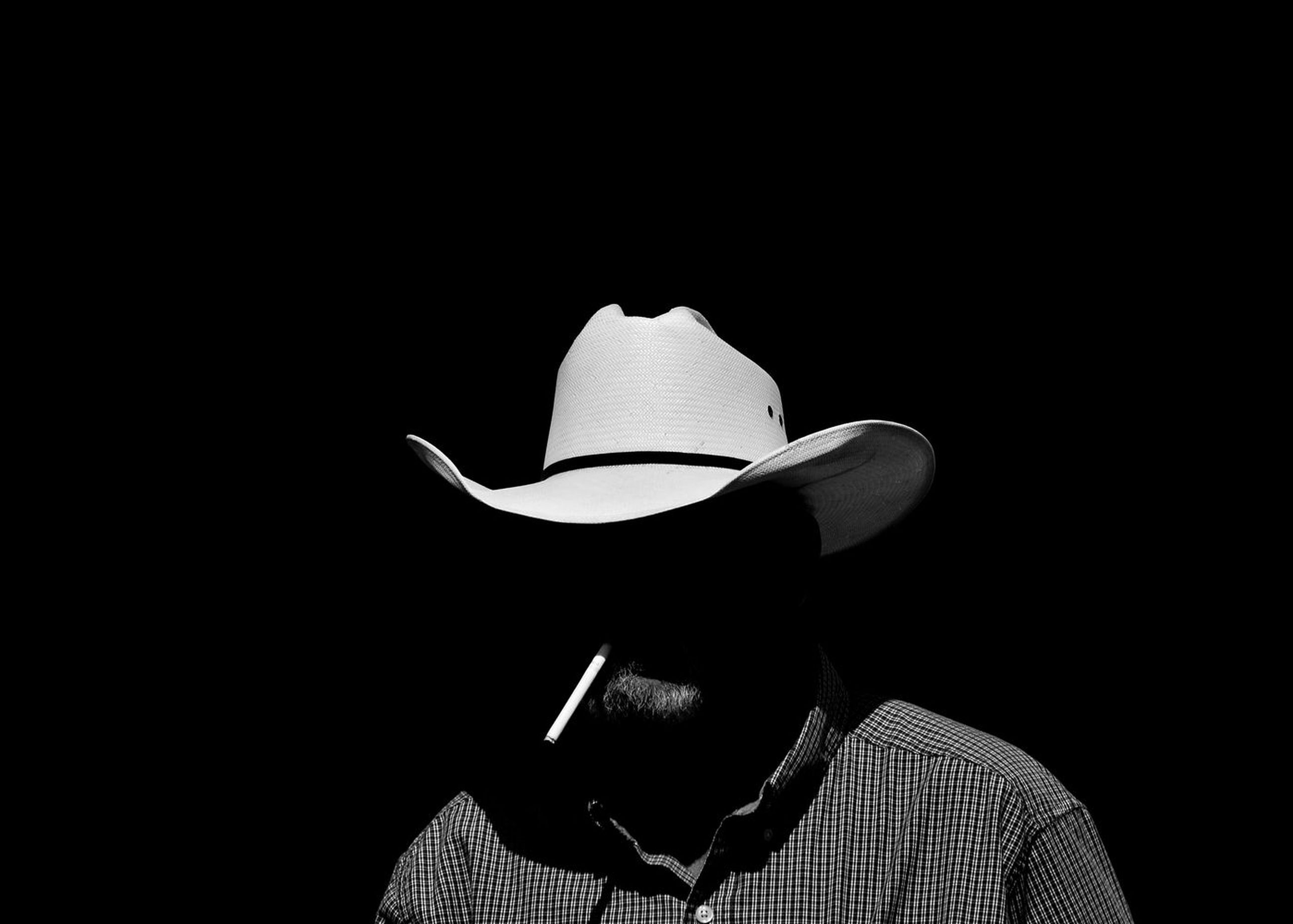 hat, black background, studio shot, men, cowboy hat, headshot, real people, lifestyles, one person, headwear, day, people