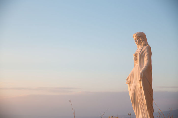 Wedding details Soul Spirituality Virgin Mary Clear Sky Day Holy Human Representation Low Angle View Male Likeness Mercy  Nature No People Outdoors Sculpture Sky Spiritual Statue Sunset