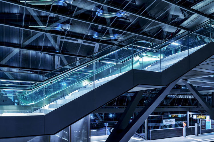 staircase Steps And Staircases Modern Architecture Nightphotography Nikonphotography Long Exposure Architecture Built Structure Glass - Material Indoors  Escalator Modern Illuminated City Staircase Ceiling Building Low Angle View No People Transparent Metal Convenience Lighting Equipment Reflection Office Building Exterior