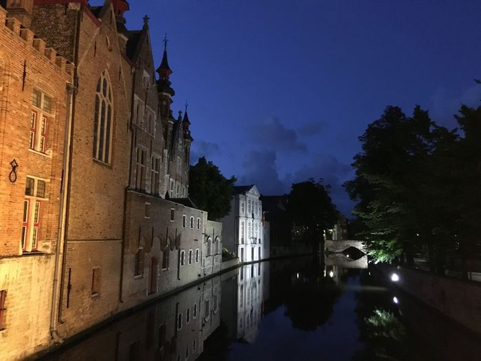 Deep blue Light And Darkness  Architecture At Night Blue Building Exterior Buildings And Reflections Built Structure City Deep Blue Gracht Gracht At Night History Outdoors Reflected Buildings Reflections In The Water Sky Tree Water