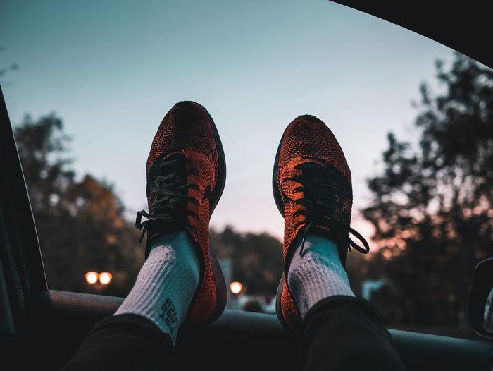 life x peace x nature Anewbeginning Panasonic Lumix G80 Lumix LumixG80 Nike Flyknitracer Low Section Human Leg Women Shoe Personal Perspective Sock Sky Close-up A New Beginning EyeEmNewHere