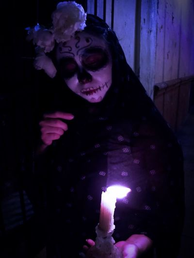 Candle Catrina Day Of The Dead Catrina One Person Front View Real People Leisure Activity Lifestyles Night Indoors  Portrait Women Young Adult Celebration Adult Illuminated Dark