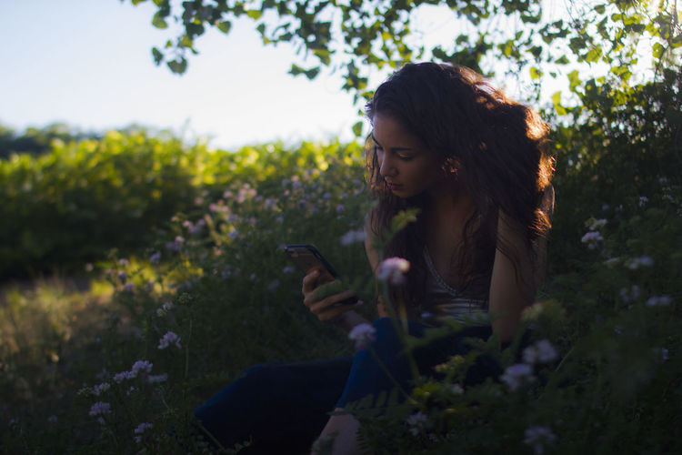 Beautiful Woman Beauty In Nature Communication Day Flower Growth Holding Leisure Activity Looking Down Mobile Phone Model Musician Nature One Person Outdoors Real People Smart Phone Sunlight Sunset Tall Grass Text Messaging Using Phone Women Young Adult Young Women