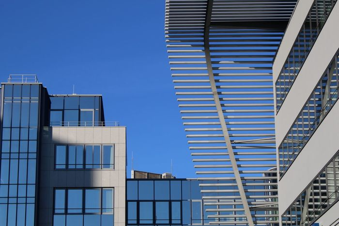 Architecture Building Exterior Built Structure Business Finance And Industry City Clear Sky Day Downtown District Low Angle View Modern München ZOB No People Office Office Building Exterior Outdoors Sky Skyscraper Window Light And Reflection