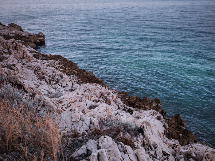 Rocky coastline and calm sea Adriatic Beauty In Nature Clean Coast Coastline Day Empty Mediterranean  Nature No People Nobody Outdoor Outdoors Rock - Object Rocky Scenic Scenics Sea Shore Tranquility Water Wave