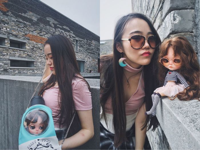 Doll face Girls Real People Sunglasses Leisure Activity Childhood Lifestyles Togetherness Eyeglasses  Front View Building Exterior Blythe Blythe Doll Cutie