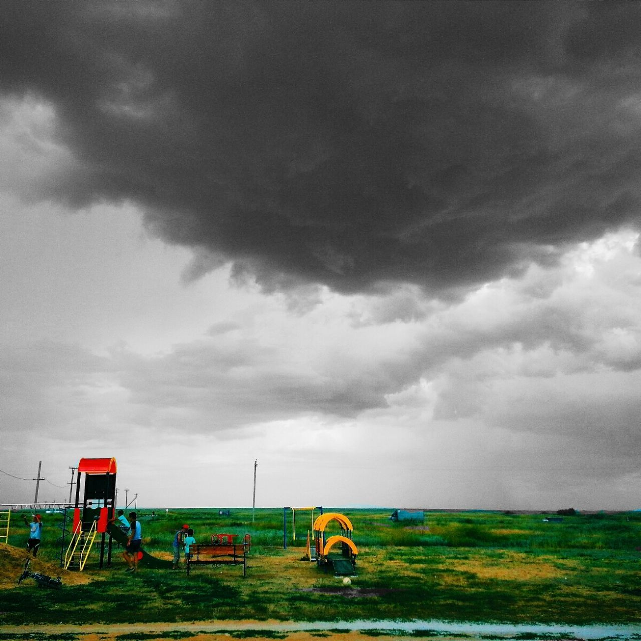 sky, cloud - sky, land vehicle, field, transportation, mode of transport, grass, nature, car, day, outdoors, no people, beauty in nature, oil pump