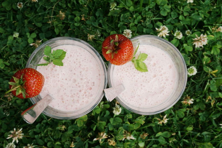 Milkshakes Blended Drink Blender Close-up Directly Above Drink Drinking Glass Food And Drink Freshness Fruit Grass Green Color Healthy Eating Healthy Lifestyle High Angle View Milk Milkshake Milkshake Milkshakes Mint Leaf - Culinary No People Outdoors Smoothie Strawberry Summer Summertime Sommergefühle