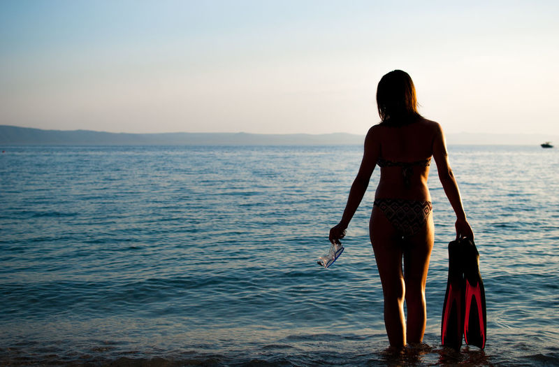 Summer, I love you. Adult Ankle Deep In Water Beach Beauty In Nature Bikini Day Horizon Over Water Leisure Activity Lifestyles Nature One Person Outdoors People Real People Rear View Scenics Sea Sky Sommergefühle Standing Vacations Walking Water Young Adult Young Women