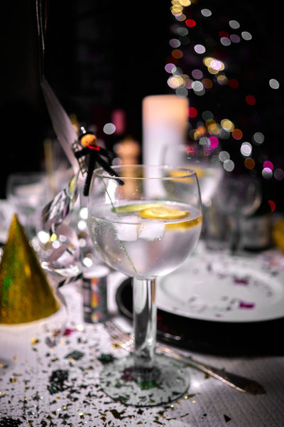 Citrus  Event GIN Gin Tonic Gin And Tonic New Year Party Time Silvester Social Alcohol Alcoholic Drink Bokeh Citrus Fruit Color Confetti Gin Tonic On Ice Glass Glass - Material Party Party - Social Event Water