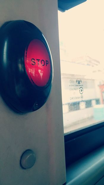 No People Filter Bus Stop Stop Button Button Red Day Travel Traveling In The Bus