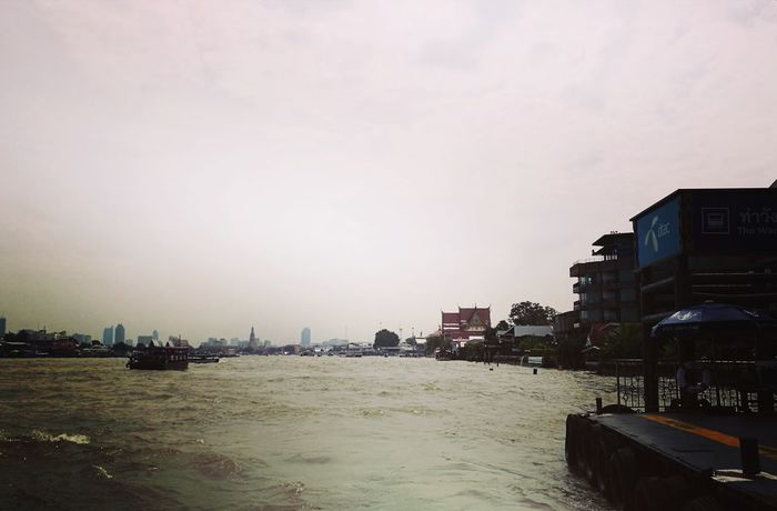 On the river City Sky Water River Chip Thailand Heart