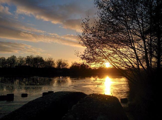 Abendstimmung Rock - Object Postcard Picture Sunset Reflection Tree Nature Lake Sky Silhouette Beauty In Nature Outdoors