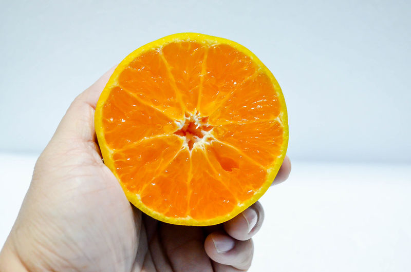 Adult Blood Orange Close-up Day Food Food And Drink Freshness Healthy Eating Holding Human Body Part Human Hand Indoors  One Person Orange Orange - Fruit People Squeezing White Background
