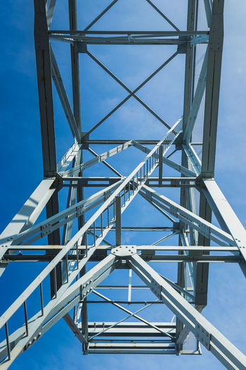 Alloy Architecture Blue Bridge Bridge - Man Made Structure Built Structure Clear Sky Connection Day Low Angle View Metal Nature No People Outdoors Pattern Power Supply Railing Sky Staircase Steel Sunlight Tower Water