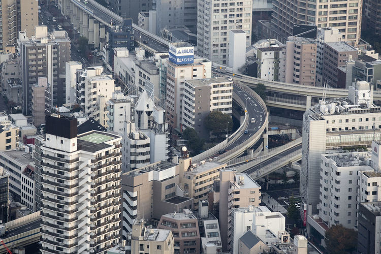 An aerial view of one of Tokyo's impressive highways. Aerial View Architecture Building Exterior Built Structure City Cityscape Day High Angle View Highway No People Outdoors Roof Skyscraper Travel Destinations Urban Skyline