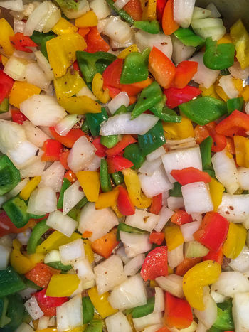 Sautéing vegetables Bell Pepper Chopped Close-up Food Food And Drink Freshness Full Frame Green Peppers Healthy Eating Multi Colored Onion Red Peppers Sauteed Veggies Sauté Vegetable Vegetarian Food Yellow Peppers Visual Feast Flavorful Tasty