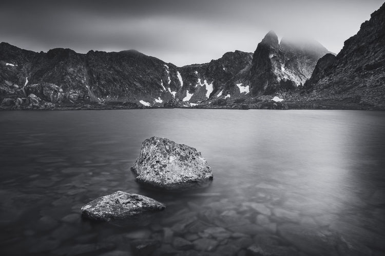 Landscape with glacier lakes from the natural park retezat mountains, romania