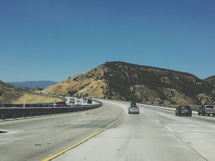 OTR Road Mountain Transportation Clear Sky Road Marking The Way Forward Mountain Range Day Car White Line Blue Copy Space Scenics Outdoors Nature Land Vehicle Tranquil Scene Asphalt No People Sunlight