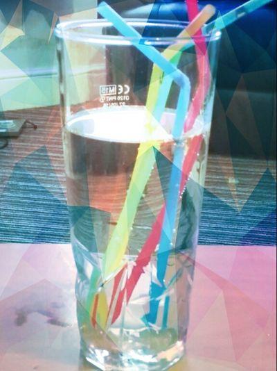 Glass Water Straws Glass Of Water Bright Straws Drink Thirsty