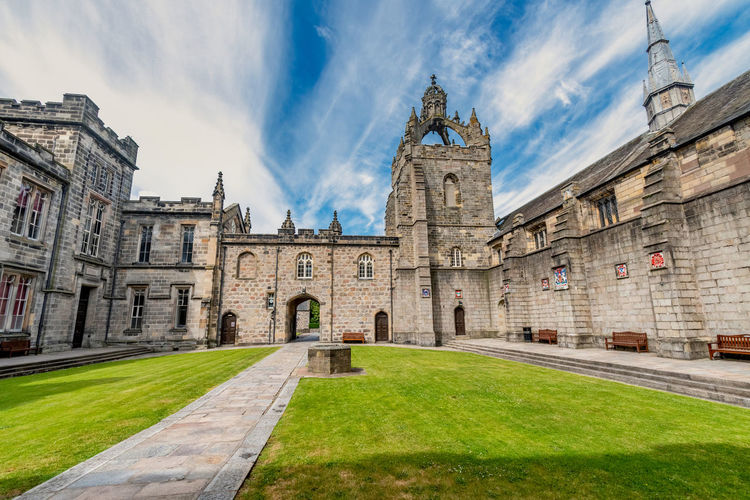 Aberdeen University King's College building captured on a beautiful late summer morning. Founded in 1495 this is one of Scotland's oldest centres of learning Aberdeen University Scotland Architecture Built Structure Building Exterior Sky Cloud - Sky The Past History Building Grass Nature Religion Travel Destinations Place Of Worship Belief Spirituality Day Façade No People Outdoors Spire