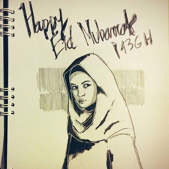 Happy Eid Mubarrak dari Kiko Mizuhara & keluarga. Mohon maaf lahir batin, mohon maaf ga mirip, anggep aja kiko yak Eidmubarak Eid Kiko Kikomizuhara doodle illustration hijab
