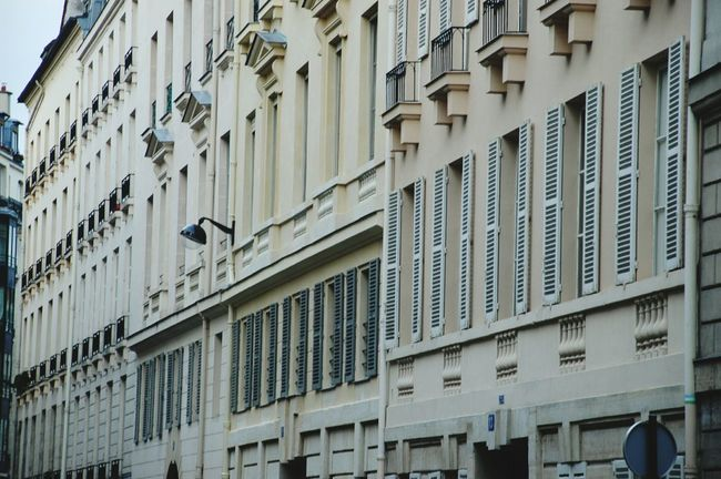 Building Exterior Architecture Built Structure Window Low Angle View Outdoors Day No People City Paris, France  Rows Of Houses Rows