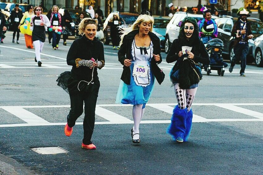 Not really sure... Maybe Swissmiss and friends??? Boston Common 5k Lovely Ladies Athletes Halloween Costumes