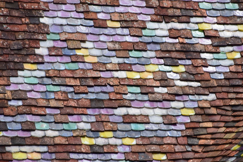 Colorfull tiles on a roof Abstract Abundance Art And Craft Backgrounds Brick Brick Wall Close-up Creativity Day Full Frame Graffiti Indoors  Large Group Of Objects Multi Colored No People Pattern Textured  Wall Wall - Building Feature