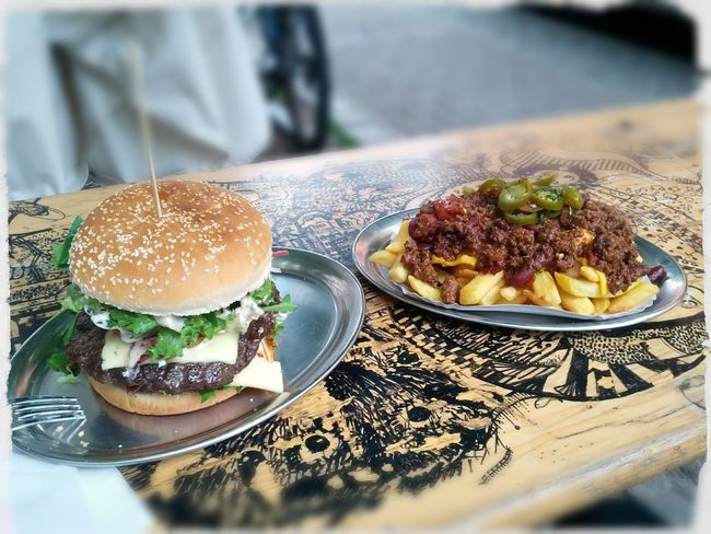 Burger Food Porn Cheese Fries