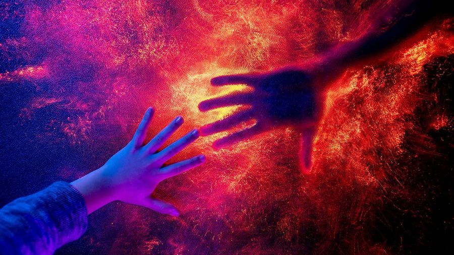 Hands Meeting Abstract Colourful Colorful Human Hand Galaxy Holi Palm Red Powder Paint Shadow Close-up Handprint