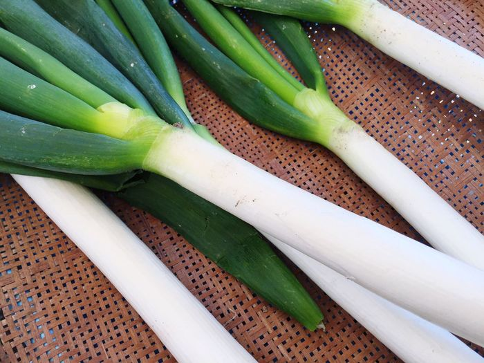 Close-up of spring onions on seat