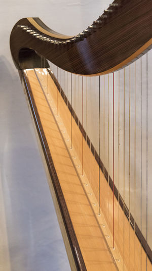 Celtic irish harp, classical and traditional string music instrument, detail. Architecture Brown Built Structure Close-up Cloud - Sky Day Focus On Foreground Glass - Material Indoors  Low Angle View Metal Musical Instrument Nature No People Railing Reflection Sky Transparent Wood - Material
