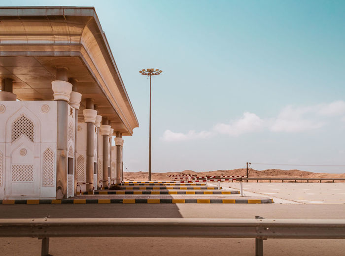 Oman Chapters Sky Architecture Built Structure Nature No People Building Exterior Water Architectural Column Sea Day Land Transportation Outdoors Railing Beach Travel Destinations Travel Cloud - Sky Sunlight