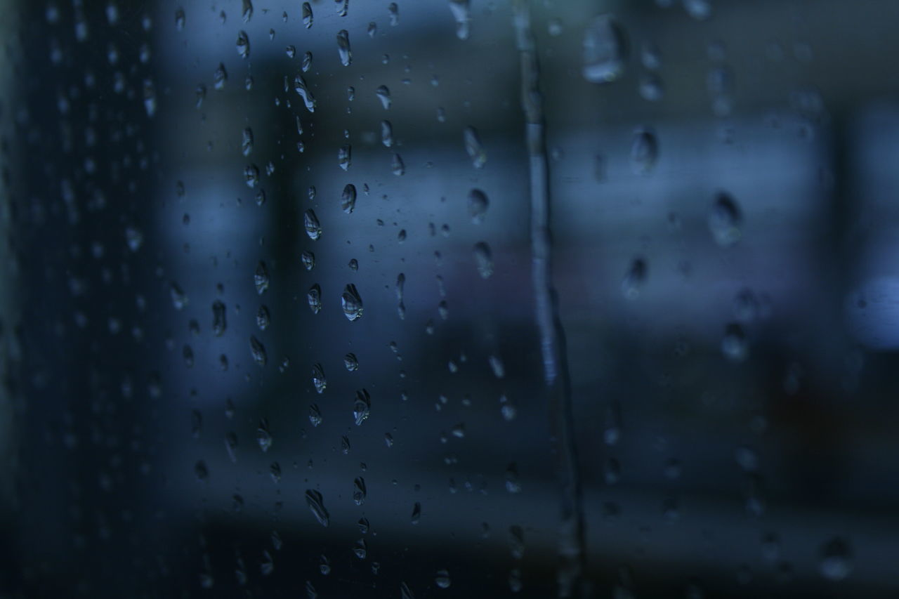drop, rain, wet, raindrop, water, indoors, full frame, close-up, weather, backgrounds, window, no people, focus on foreground, pattern, day