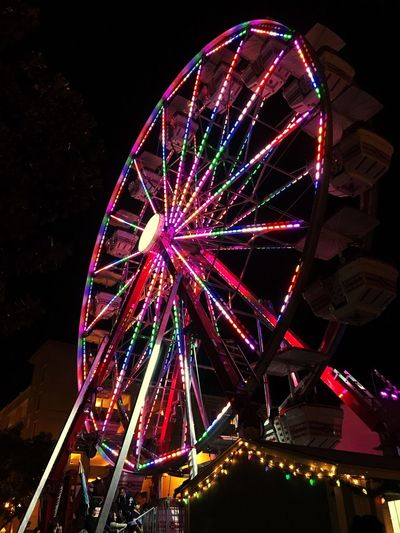Ferris Wheel Night Multi Colored Arts Culture And Entertainment Illuminated Low Angle View Amusement Park Outdoors No People Sky Big Wheel Riverside Lights Festival Happiness Colors Colorful Fun