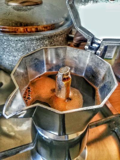 High angle view of coffee in kitchen