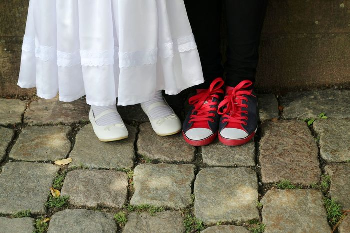 Shoe Low Section Human Leg Life Events People Feet Shoes Standing Wedding Ceremony Waiting Sneaker Socks Red Shoe Laces Shoe Laces Red Children Childhood Child The Week On EyeEm Cute Girl White Dress White Shoes Kids