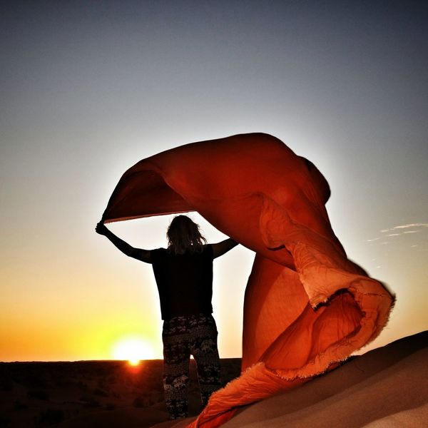 Sunrise Orange Color One Person Sand Sand Dune Young Adult Silhouette Desert Sky Sunrise Freedom Joy Morocco Sahara Desert Greeting The Day Desert Wind Desert Sunrise Be. Ready. EyeEm Ready   An Eye For Travel