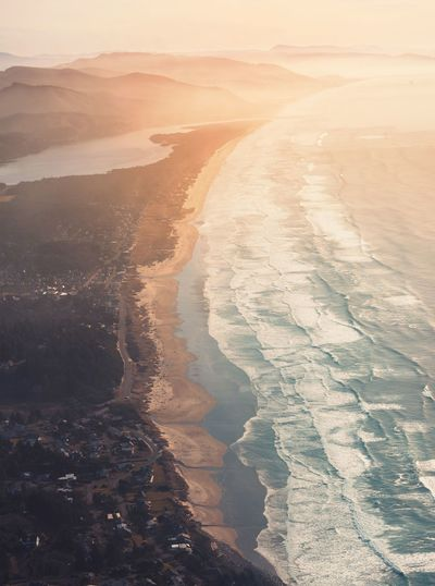 Sunny Adventure Ocean Hiking PNW Oregon Beach Beauty In Nature Water Nature Scenics Aerial View Tranquil Scene Sea Sunset Tranquility Outdoors Landscape Wave Sky Day