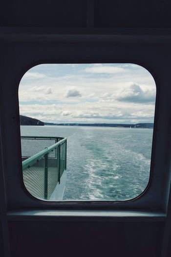the back of the ferry. On The Way Water Travel Vacation Washington State Ferry Observation Deck