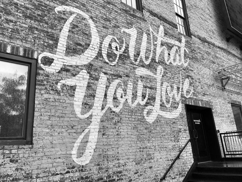 Love What You Do. Architecture Blackandwhite Blackandwhite Photography Black & White Black And White Brick Wall Building Exterior Community Do What You Love Graffiti Word Words Words Of Wisdom... Quotes Philadelphia Streetphotography Streetart Street Photography Neighborhood Map Love What Do You Love? Streetphoto_bw Streetartphotography EyeEm Selects EyeEm Selects Postcode Postcards