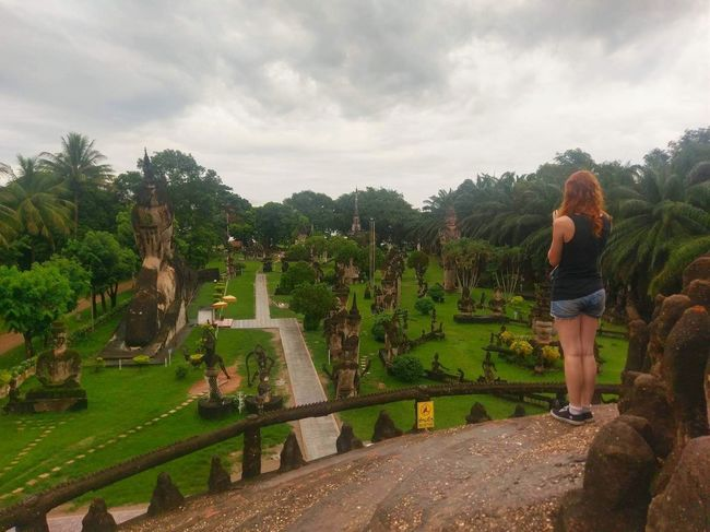 Buddha Park Cloudy Desktop Travel Traveling Vientiane View Background Backgrounds Beauty In Nature Discovery Favorite Iconic Laos One Person Perfect Photagrapher Photo Of A Photographer Real People Red Hair Southeast Asia Southeastasia Standing Taking A Picture Travel Destinations