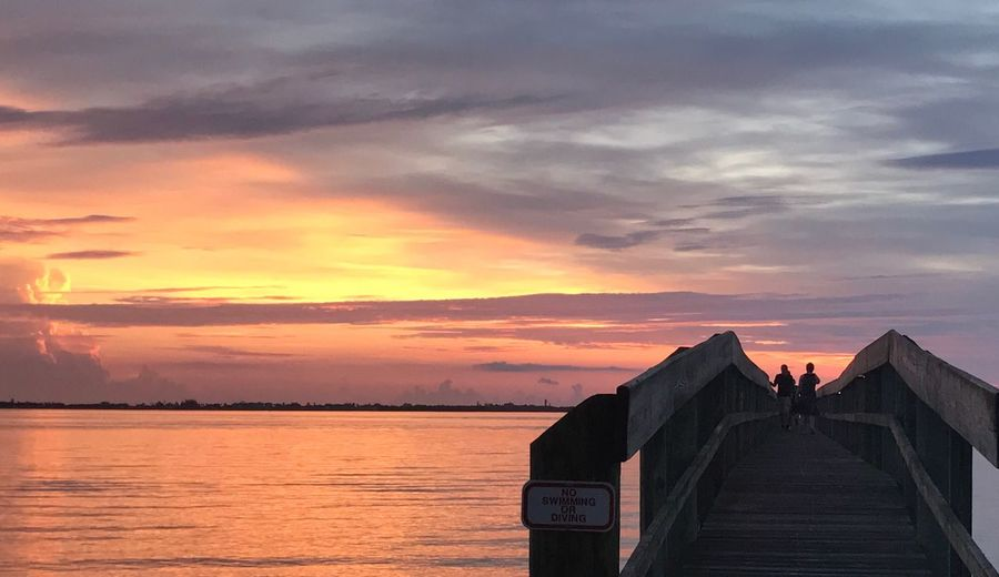 Sky Cloud - Sky Beauty In Nature Nature Outdoors Water Sunrise Indian river lagoon Architecture people on the pier The Week on EyeEm