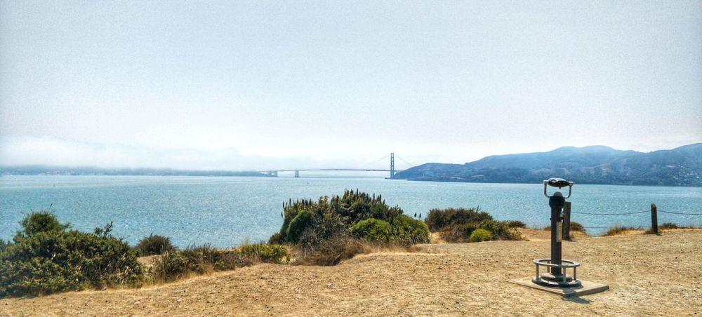 GoldenGateBridge San Francisco Angel Island Oldfashionbinoculars EyeEm Selects Water Sea Beach Mountain Sky Architecture Horizon Over Water Coin-operated Binoculars Ocean Observation Point Tranquil Scene Coast