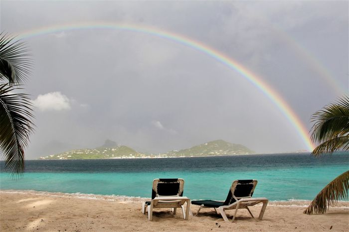 afternoon rain Rainbows Beach See Sand Color Rainbow Beach Sea Nature Beauty In Nature Sand Idyllic Outdoors Tranquility No People