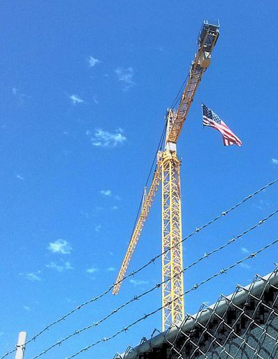 Portrait Of America American Flag Americanflag AMERICA!!! Crane Building Up Construction Site Skyshot Sky Shots America