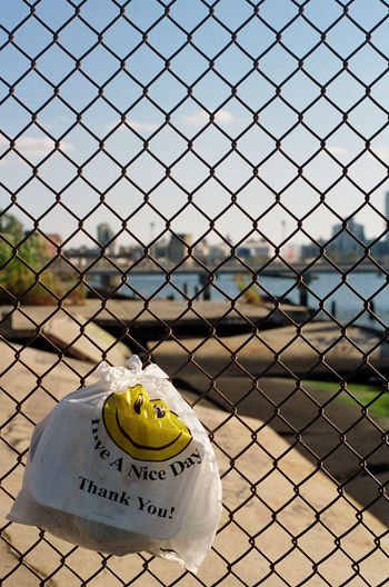 Brooklyn Close-up Day Fence Focus On Foreground Ironic View Nice Day Plastic Urban Landscape Urban Scene Yellow