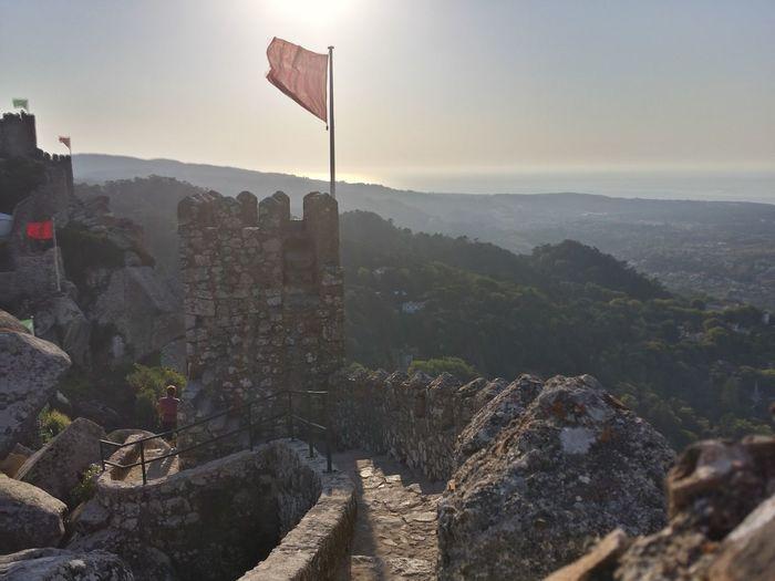 Flag at fort against sky