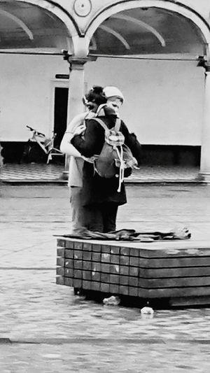 Gimme a Hug Street Photography Black & White